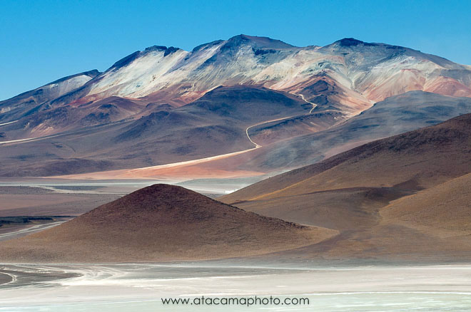 Colorful mountains and salt flat, Bolivian Altiplano