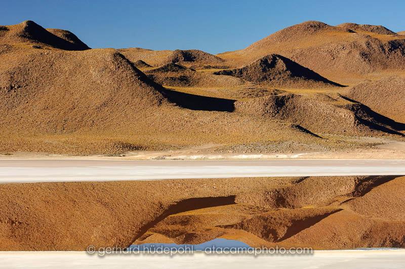 Perfect reflections in a lagoon of the Bolivian Altiplano near Uyuni