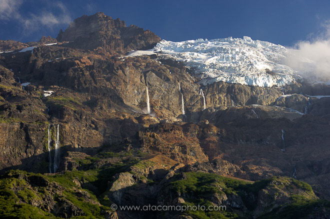 Sierra Velluda, mountain with glacier and waterfalls in Chile