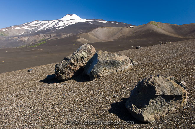 Antuco volcano, volcanic landscape with gray ashes in Chile