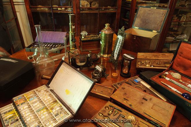 Ignacio Domeyko, desk with geological instruments and samples in his house, Santiago, Chile