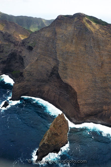Aerial view of the steep coast of Robinson Crusoe Island