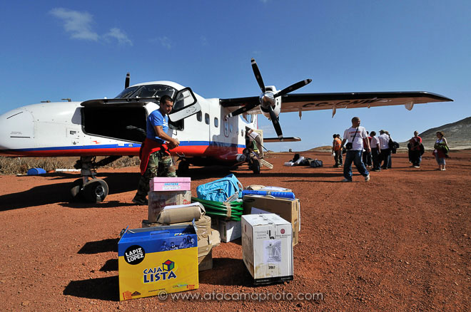 Airplane just landed at the airstrip of Robinson Crusoe Island