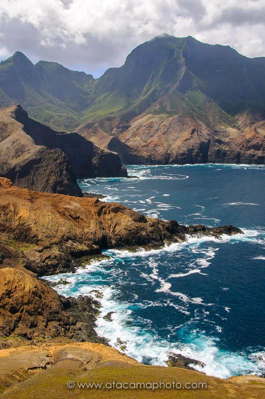 Rugged coastline of Robinson Crusoe Island, Chile