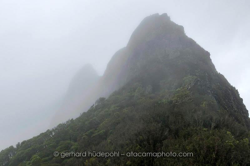 Close view of Cerro El Yunque in the clouds, Robinson Crusoe Island