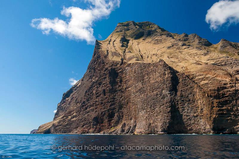 Impressive vertical coastal cliffs of Robinson Crusoe Island, Chile