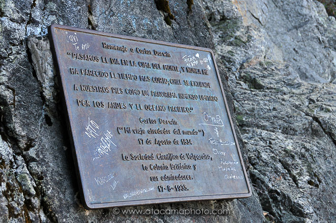 Plate that commemorates Charles Darwin's visit to Cerro la Campana, Chile