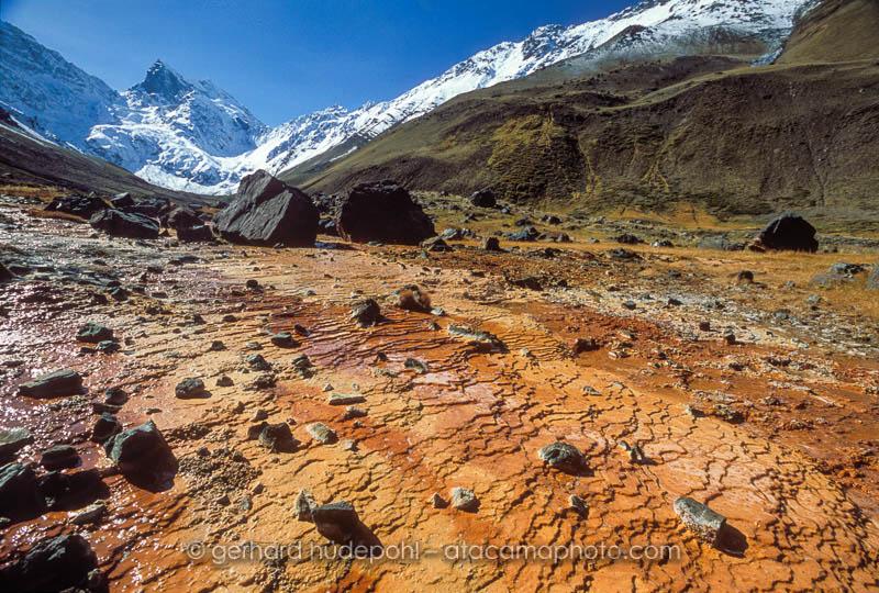 Panimavida mineral water springs in the Andes mountains of El Morado valley, Cajon de Maipo, Chile
