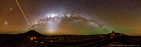 The Milky Way above the VLT telescopes and VISTA, With the 4 Laser Guide Star Facility in operation, Magellanic clouds, Zodiacal light