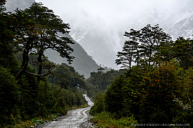The famous gravel road Carretera Austral on a typical rainy day, Patagonia Chile