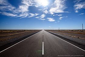 On the flat straight Ruta 40 travelling through the endless steppe of Patagonia in Argentina