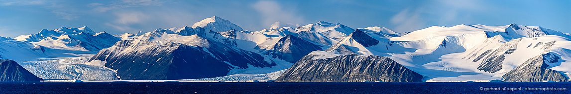 Panorama of Admiralty Mountains with Mount Sabine and 3 glaciers seen from Robertson Bay, Antarctica