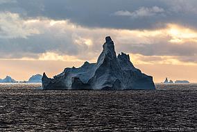 Castle shaped iceberg at sunset, Antarctica