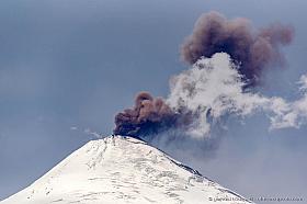 Small ash eruption of Villarrica Volcano, Chile