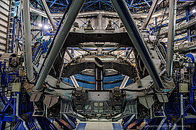 The giant VLT telescope at Paranal. Plenty of steel, cables, glass.