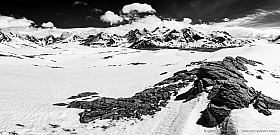 South Georgia Island: mountain ranges near Fortuna Bay, part of the Shackleton traverse. Black and white.