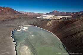 Aerial view of Laguna del Jilguero and Salar de Piedra Parada, Chile
