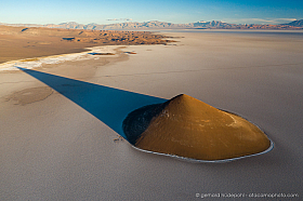 Aerial view of the Cono de Arita at the Arizaro Salt flat, Argentina