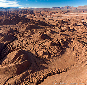 Aerial photo of Desierto del Diabolo, eroded clay mountains near Tolar Grande, Argentina
