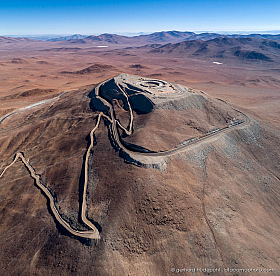 Construction site of the Extremely Large Telescope on Cerro Armazones in the Chilean Atacama Desert.