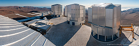 Paranal Observatory panorama view from roof of VLT telescope dome
