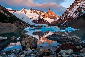 Sunrise at Cerro Torre and Lago Torre with icebergs, Parque Nacional Los Glaciares Argentina