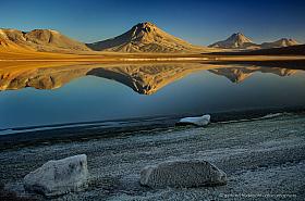 Laguna Lejia with four volcanoes (Lascar, Simba, Aguas Calientes and Pili) at early morning light
