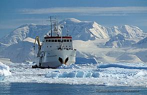 Expedition cruise ship Professor Multanovskiy in thick ice in Antarctica