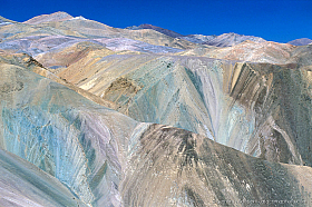 Colorful mountains indicate rich mineral deposits, geology of Chile's Atacama region