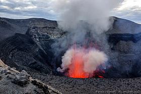 One of the regular eruptions of Mount Yasur volcano on Tanna Island, Vanuatu