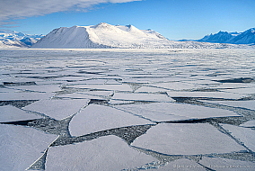 Sea ice floes from previous winter are freezing again at McMurdo sound, Antarctica