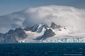 Dramatic low clouds over Greenwich island, Antarctica