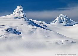Beautiful white snowy mountain landscape at Cierva cove in Antarctica