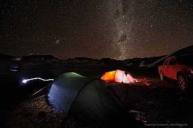 Camping in the cold Altiplano of Atacama under the Milky Way