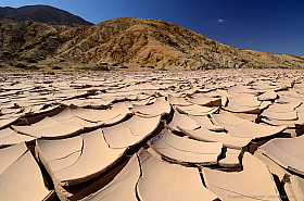 Mudcracks in a dry riverbed, Pan de Azucar National Park, Chile