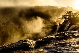 Dramatic sunrise at Iguazu water falls, Misiones Argentina