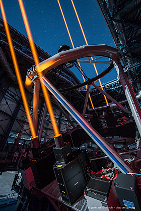 The powerful 4 lasers of ESO's Very Large Telescope at Cerro Paranal