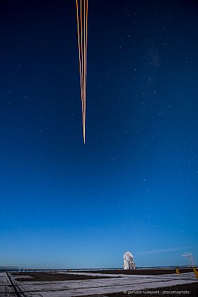 The laser beams produce a spot in the Sodium layer at 90 km altitude