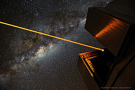 The VLT telescope with laser guide star during night observations at Cerro Paranal, Chile