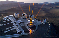 Four powerful lasers are shooting to the sky above ESO's Paranal Observatory in Chile