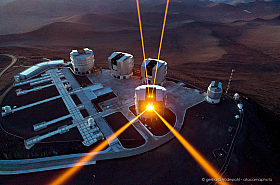 Aerial view of the 4  lasers of the VLT Observatory on Cerro Paranal