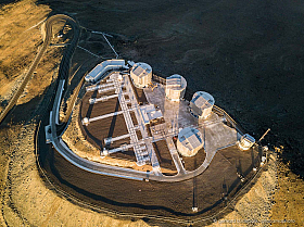 Looking down on the Paranal telescope platform from the air