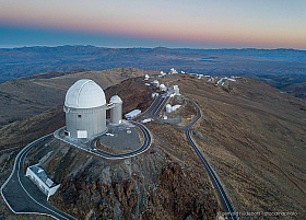 La Silla Observatory from the air at dawn