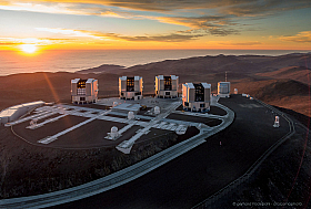 Just before sunset the four VLT telescopes are ready for observation at Cerro Paranal