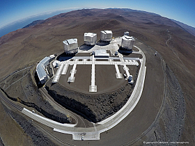 Unusual wide angle aerial view of the ESO Very Large Telescope Paranal Observatory with surrounding Atacama desert