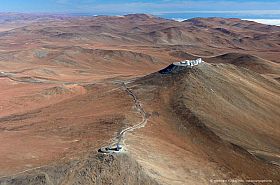 Paranal Very Large Telescope Observatory in Chile with VISTA in the foreground, seen from the air