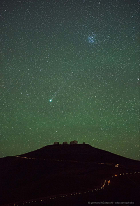 Comet Lovejoy and Plejades over Paranal observatory in Chile