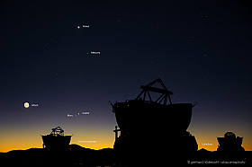 Rare conjunction of four planets and the moon above Paranal Observatory: Venus, Jupiter, Mars and Mercury
