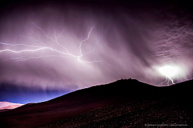 Rare thunderstorm with lightning over Paranal observatory