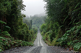 The typical view of the still mostly unpaved Carretera Austral, Patagonia Chile